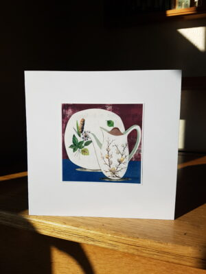 Greeting Card : Midwinter Pussy Willow and Riverside Plate