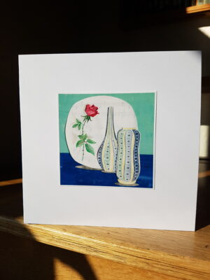 Greeting Card : Midwinter Rose  and Poole Vases