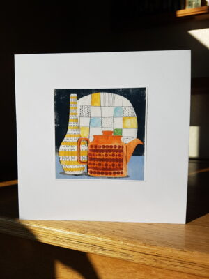 Greeting Card : Hornsea Saffron Teapot Poole and Poole Vase