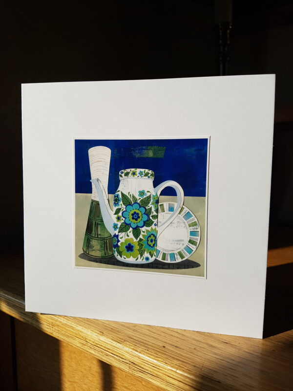 Midwinter Springtime Coffee Pot Collage by Victoria Whitlam