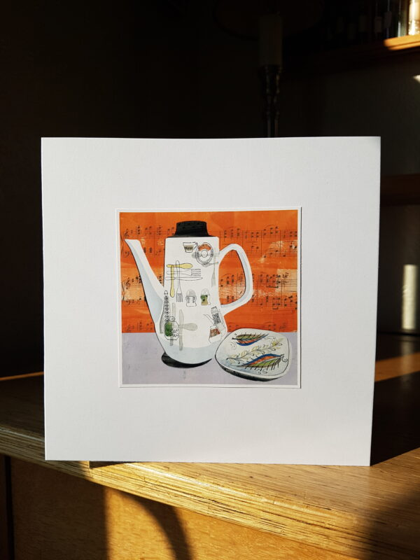 Barker Bros Fiesta Coffee Pot and Denby Dish Collage by Victoria Whitlam