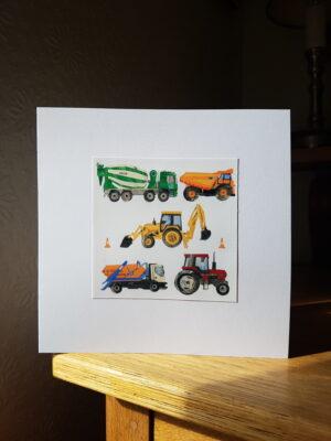 Greeting Card : Tractor Digger Dumper