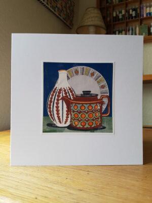 Greeting Card : Hornsea Bronte Teapot and Kathie Winkle Plate