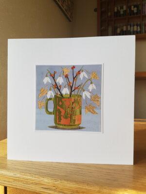 Greeting Card : Hornsea Mug with Snowdrops