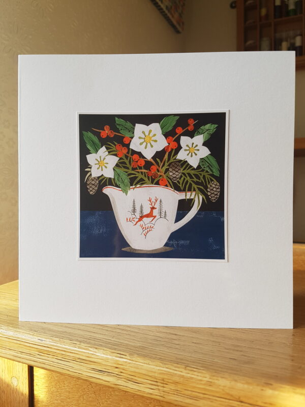 Victoria Whitlam Leaping Deer Jug Christmas Card